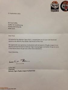 Balmain Tigers Award - Paul Griffin